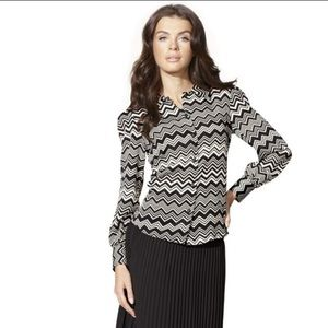 💕 MISSONI for target chevron black white blouse